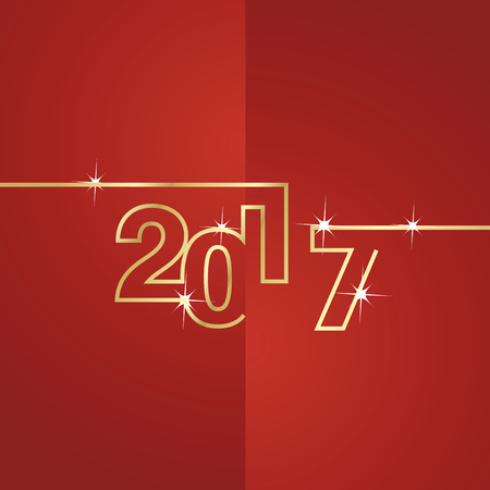 greeting cards: 2017 gold line red background vector