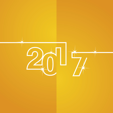yellow line: 2017 white line yellow background vector