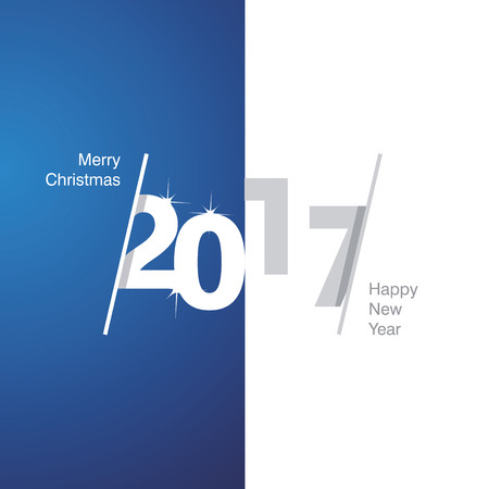 greetings card: 2017 Happy New Year blue white gray background Illustration