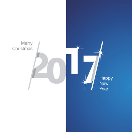 background calendar: 2017 Happy New Year gray white blue background