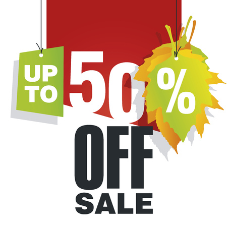 sell off: Autumn Sale up to 50 percent off red background