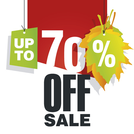70: Autumn Sale up to 70 percent off red background