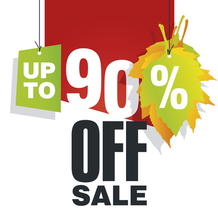 Autumn Sale up to 90 percent off red background Illustration