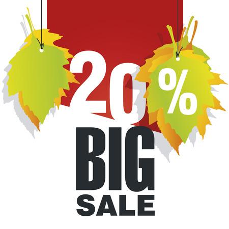 Big Autumn Sale 20 percent off red background Illustration