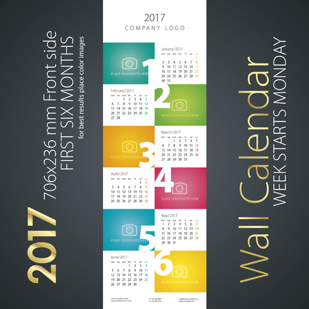 month: Calendar 2017 first six month color background Illustration