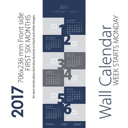 event calendar: Calendar 2017 first six month dark blue gray background Illustration