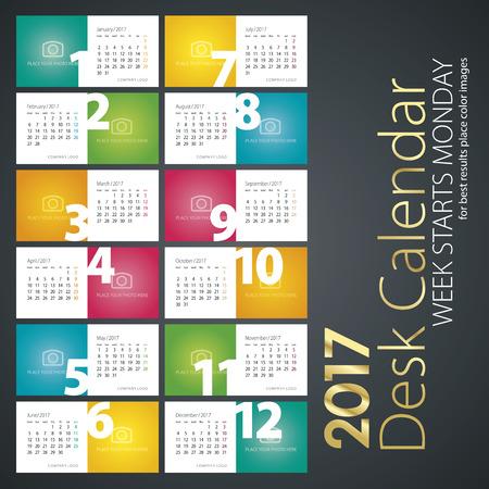desk calendar: Desk calendar 2017 color background