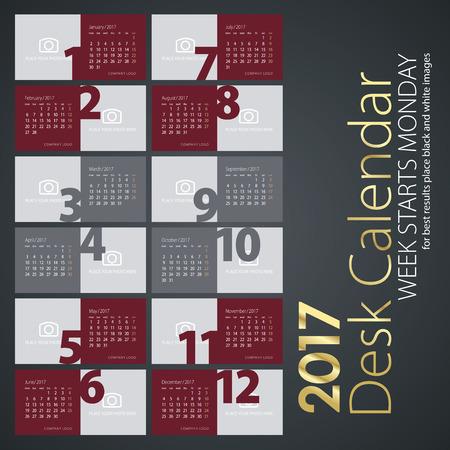 Desk calendar 2017 maroon color background Illustration