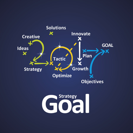 strategies: Goal strategy 2017 color blue background Illustration