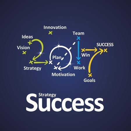Erfolgsstrategie 2017 Farbe blau Hintergrund Vektorgrafik