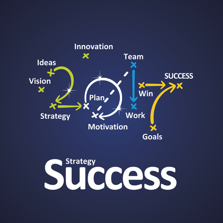 Success strategy 2017 color blue background