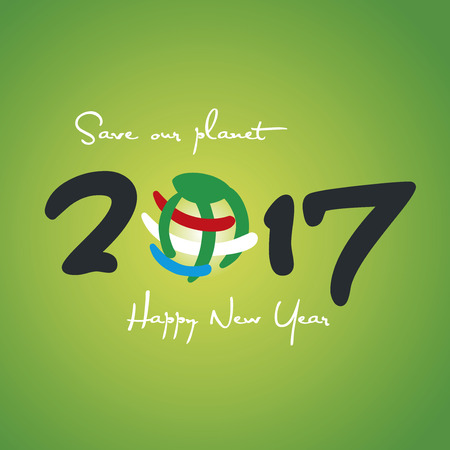 save planet: New Year 2017 Save our planet colorful green background