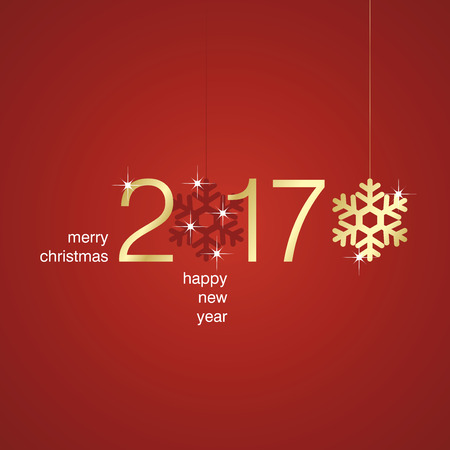 red christmas background: Gold 2017 New Year snowflakes red background Illustration