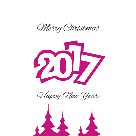 magenta decor: Christmas and New Year 2017 magenta vector