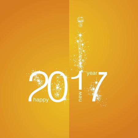 new year greeting: 2017 White New Year firework orange background