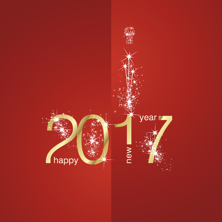 new years day: 2017 Gold New Year firework red background