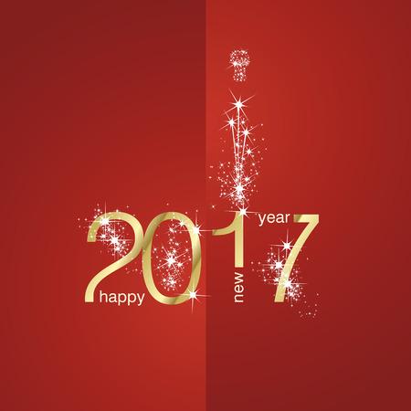 2017 Gold Novoroční ohňostroj červené pozadí Ilustrace