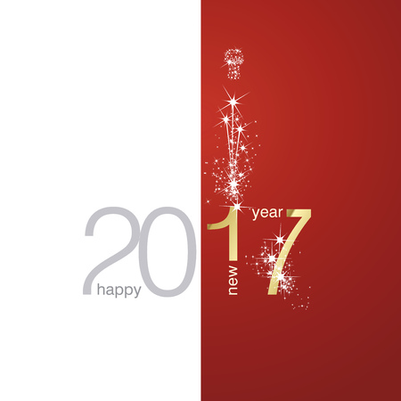 red christmas background: 2017 Gold New Year firework white red background Illustration