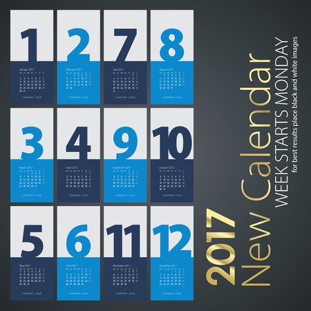 color of year: New Year wall calendar 2017 blue months color background