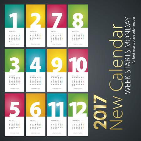 meses del año: Nuevo calendario de pared en el año 2017 el fondo de color blanco colorido meses Vectores
