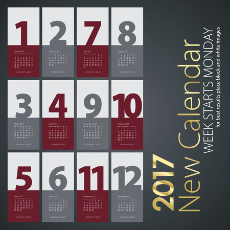 months of the year: New Year wall calendar 2017 maroon gray months color background