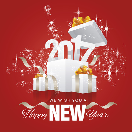 christmas concept: Happy New Year 2017 firework box red background