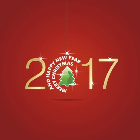 christmas tree ball: Happy New Year 2017 Christmas ball tree red vector