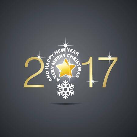 new idea: New Year 2017 Christmas idea bulb ball star black vector
