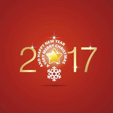 new idea: New Year 2017 Christmas idea bulb ball star red vector
