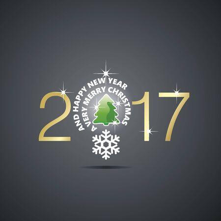 new idea: New Year 2017 Christmas idea bulb ball tree black vector