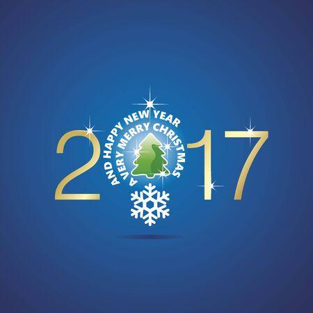 new idea: New Year 2017 Christmas idea bulb ball tree blue vector