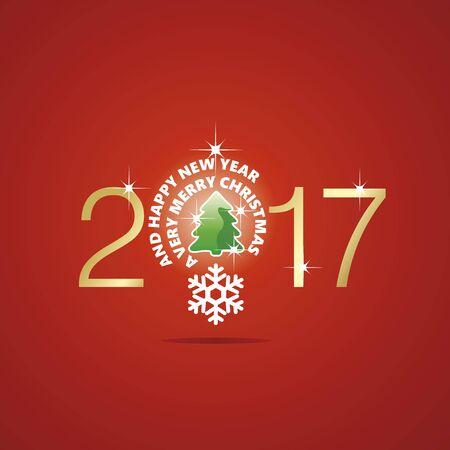 new idea: New Year 2017 Christmas idea bulb ball tree red vector