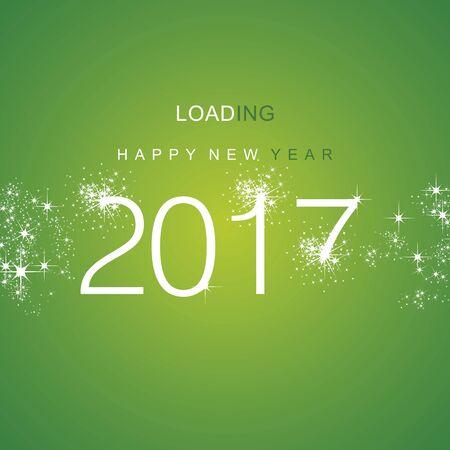 advent calendar: New Year 2017 loading spark firework white green vector