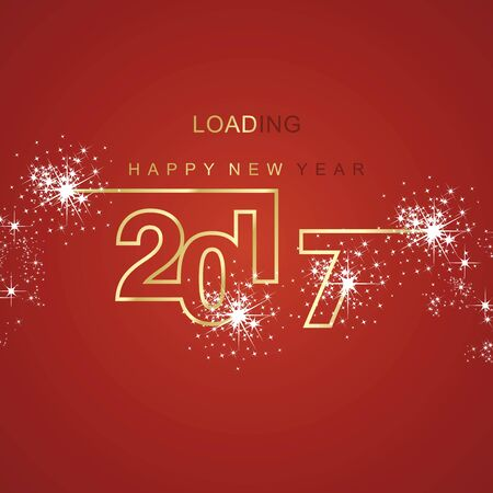 gold and red: Happy New Year 2017 loading spark firework gold red background
