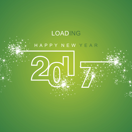 background green: Happy New Year 2017 loading spark firework white green background