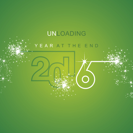 end of the days: The End 2016 unloading spark firework white green background