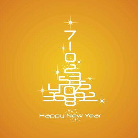 advent calendar: New Year 2017 numbers Christmas tree orange vector