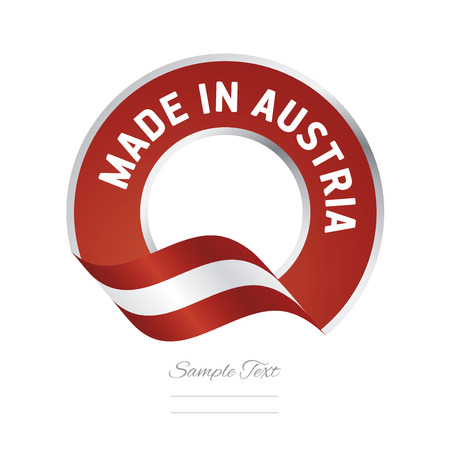 Made in Austria flag red color label button banner