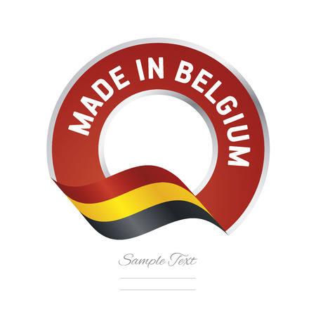 color in: Made in Belgium flag red color label button banner Vectores