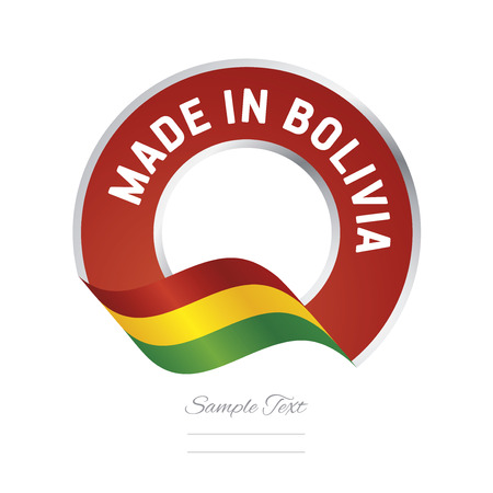 bandera de bolivia: Made in Bolivia flag red color label button banner Vectores