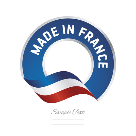 Made in France flag blue color label button banner