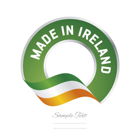color in: Made in Ireland flag green color label button banner