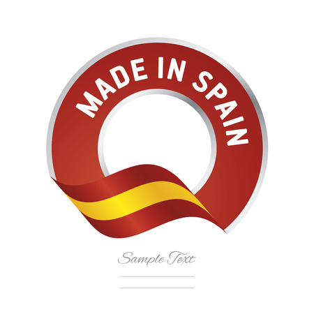 Made in Spain flag red color label button banner Stok Fotoğraf - 69304108