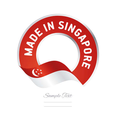 singaporean flag: Made in Singapore flag red color label button banner Illustration