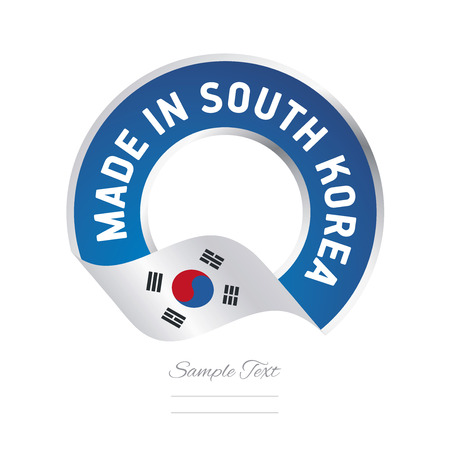 Made in South Korea flag blue color label button banner