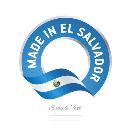 el salvador: Made in El Salvador flag blue color label button banner Illustration