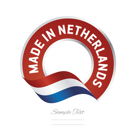 made in netherlands: Made in Netherlands flag red color label button banner