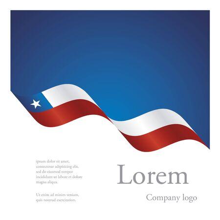 bandera chilena: Nuevo diseño abstracto folleto patrón modular de la cinta del indicador ondulado de Chile Vectores