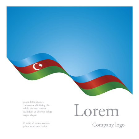 azerbaijani: New brochure abstract design modular pattern of wavy flag ribbon of Azerbaijan