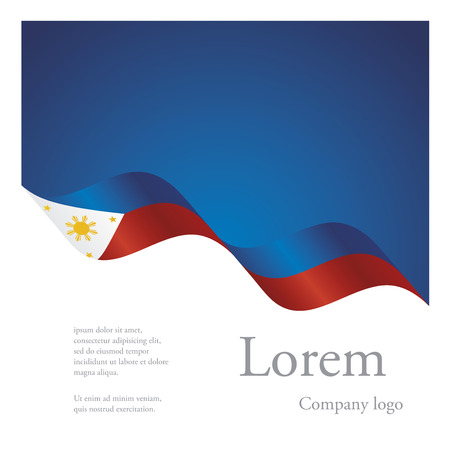 New brochure abstract design modular pattern of wavy flag ribbon of Philippines